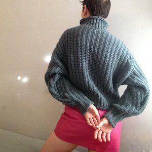 H&M turquoise turtleneck boxy oversized sweater